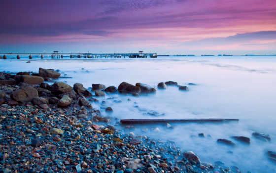 берег, море, камни, вечер, iphone, закат, галька, пальмы, malaysia,