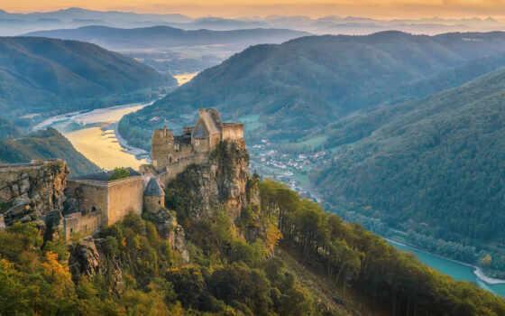 краска, город, austrian, река, hill, how