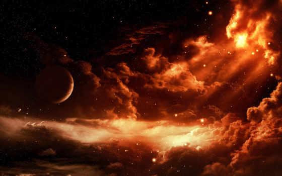 планета, облаках