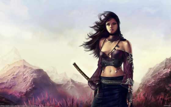 катана, девушка, меч