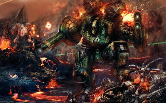 war, солдаты, фэнтези, взрывы, лава, огонь, robot, вулкан, combat, смотрите,