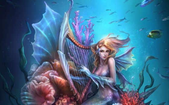 sirène, mermaids, ecran, fonds, fantasy, sur, русалка,
