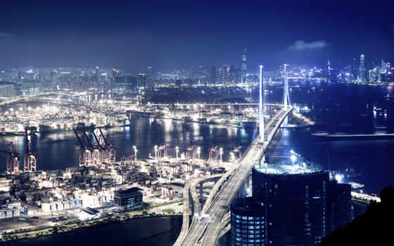 город, фотообои, ночь, города, мост, огни, стен, hong, здания, интернет,