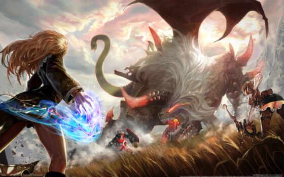 лук, магия, девушка, archer, monster, битва, крылья, online, game