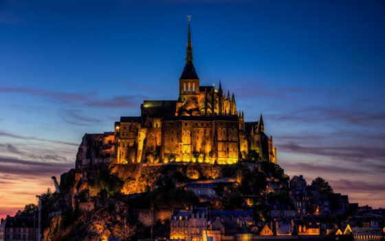 mont, michel, saint, france, остров, крепость, мон, мишель, basse, normandie, берег, закат, вечер, освещение, город,