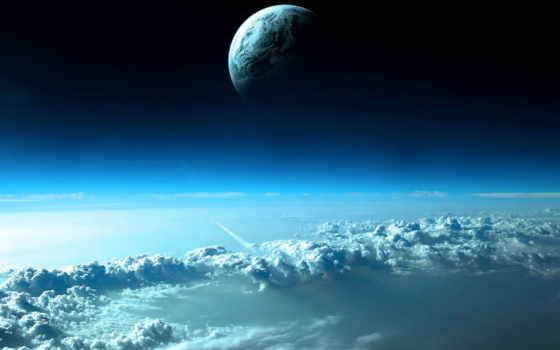планета, облака, galaxy