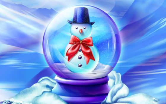 снеговик, новый, god