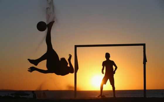 футбол, мужчины, закат