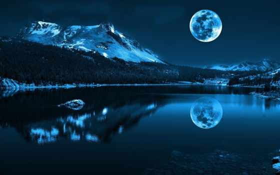 луна, гора, картинка