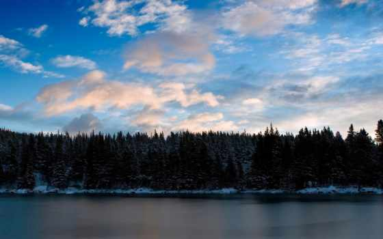 небо, winter, лес, природа, снег, like, desktop, blue,