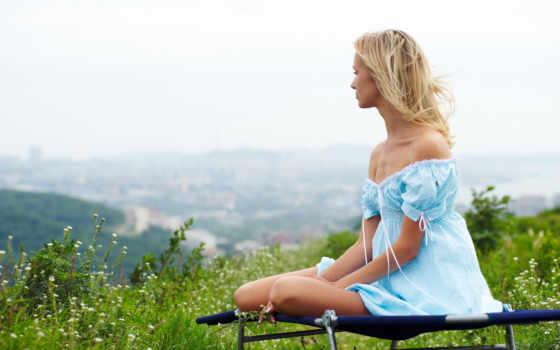 природа, fone, девушка, платье, природы, разных, голубом, devushki, горы,