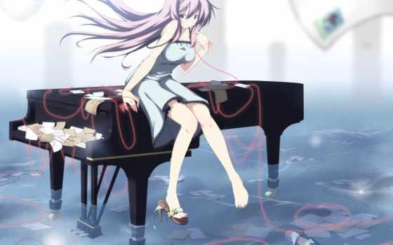anime, девушка, piano