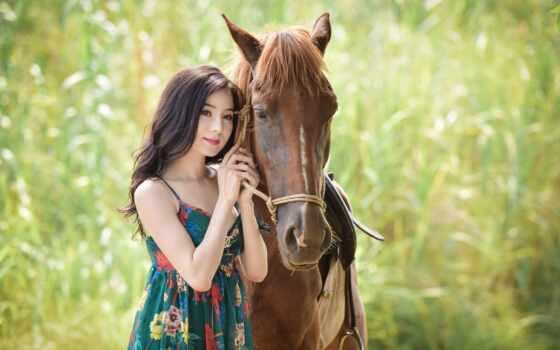 лошадь, девушка, азиатка, молодой, женщина, asian, платье, поза