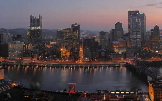 город, pittsburgh, pittsburg, bridges, pennsylvania,
