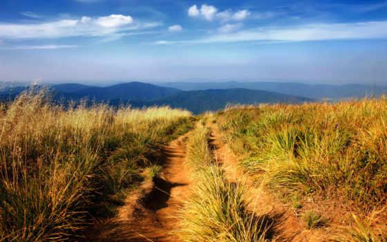 landscape, картинка, гора, full, красивый, trail, oblaka, горная, вездеход, красивые,