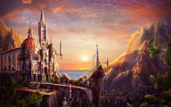 закат, castle, art, deviantart, сказочные, ци, замки, развалины, ipad,