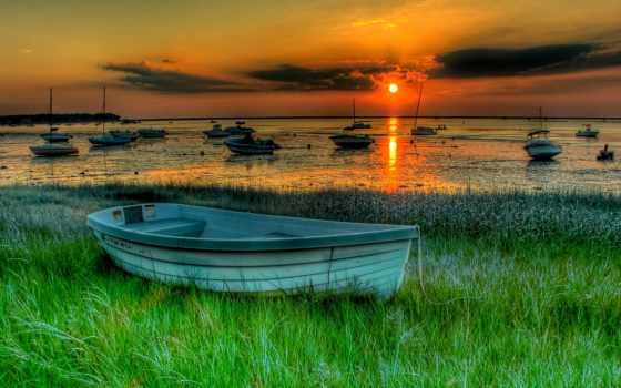 лодки, закат, landscape
