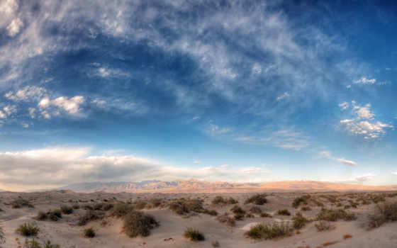 пустыня, горы, небо, песок, oblaka, природа,
