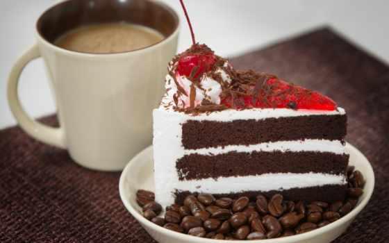 coffee, cup, торт, день, piece, утро, вишенка, мороженое, тарелке, торты,