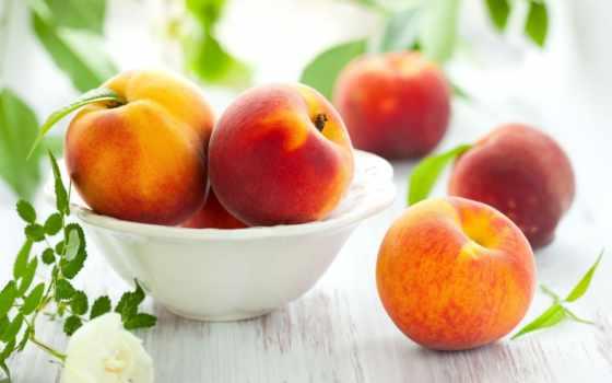персики, персик, фрукты, листва, нектарин, еда,