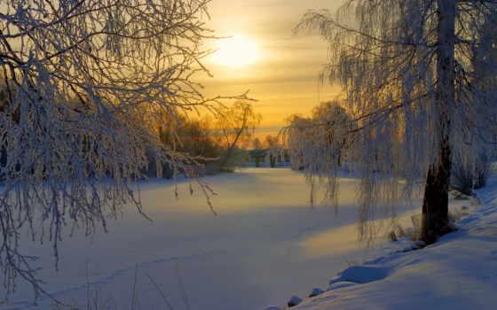 зимнее, утро, красивые, природы,