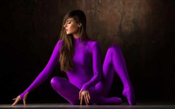 ,, пурпур, фиалка, красота, модель, длинные волосы, нога, фотосессия, колготки,