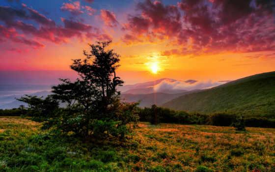 гора, sun, rising, правда, рассвет, комсомольский, природа