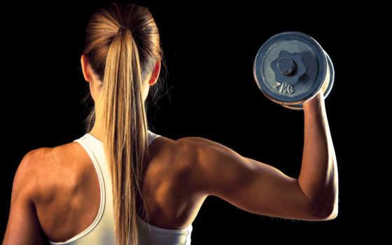 девушка, фитнес, dumbbell, спортзал, плакат, шейпинг, красивый, зеркало, спорт