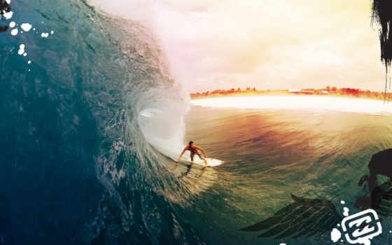 сёрфинг, billabong, под, волна, волной, пляж, ocean, картинку,