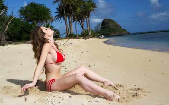 пляж, девушка, грудь