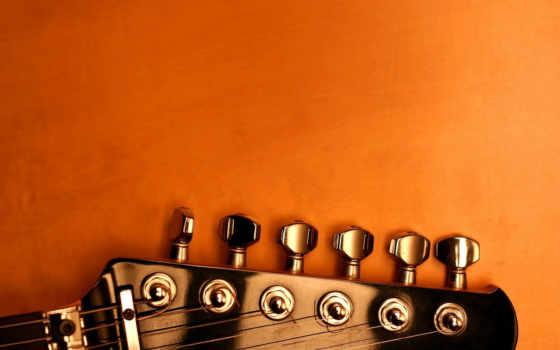 оранжевый, гитара, колки
