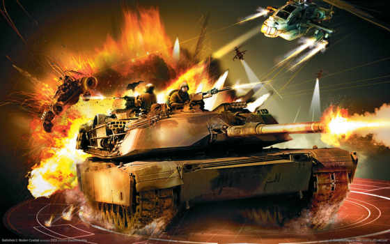 танк, огонь, вертолет