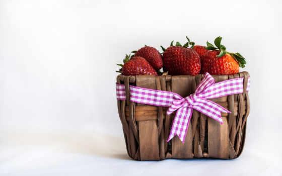 ягоды, лукошко, клубника, дыни, южные, клубники, ягодами, очень, корзина, бантик,