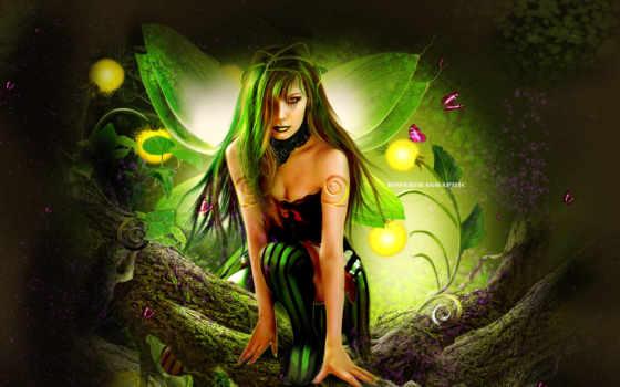 фея, девушка, art, окружении, fantasy, сидит, fei, rendering, дереве, цветов, бабочек,