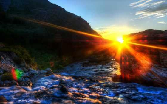 park, national, glacier, утро, california, sunsets, закат, usa,