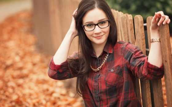 очки, зрения, купить, взгляд, но, you, день, листва, лицу, девушка,