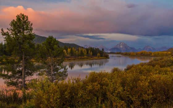 trees, oxbow, природа, grand, teton, небо, горы, река, landscape, изгиб, осень,