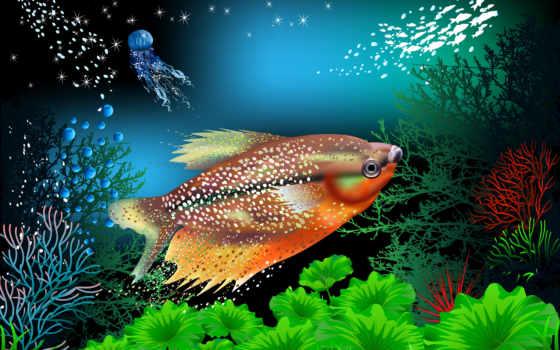 pece, вектор, estanque, underwater, fish, ноутбук, планшетный, телефон, coral, world