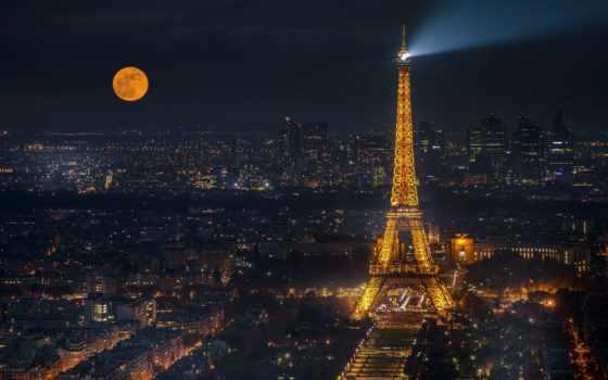eiffel, башня, ночь, париж