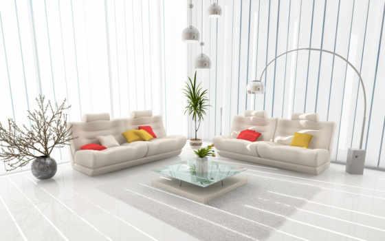 room, интерьер, living, лампа, диван, столик, ваза, design, белая, подушки, окно, modern, яркие, интерьеры, architecture,