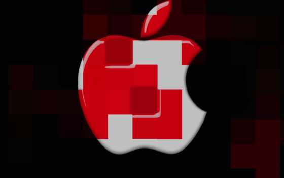 apple, logo, cubes, desktop, mac, red
