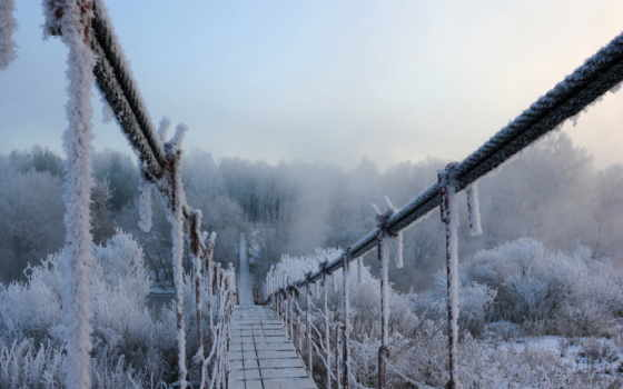 зима, мост