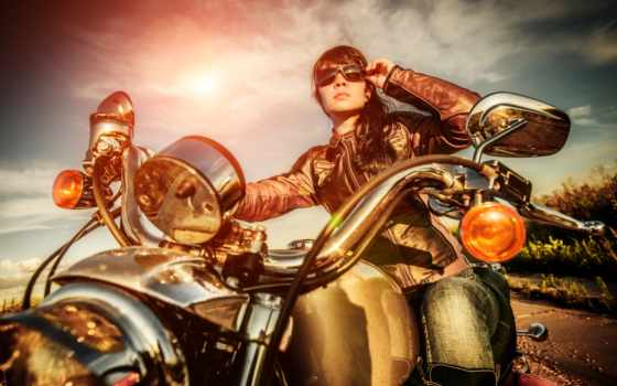 девушка, мотоцикле