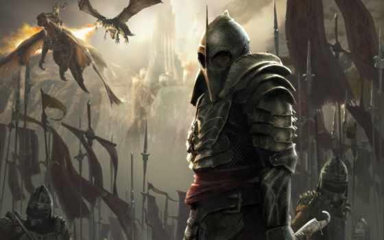 fantasy, воин, драконы
