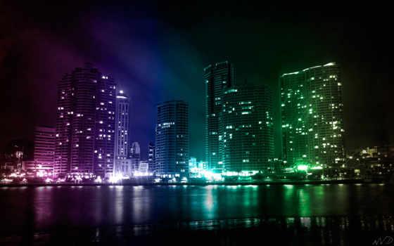 город, ночь, огни