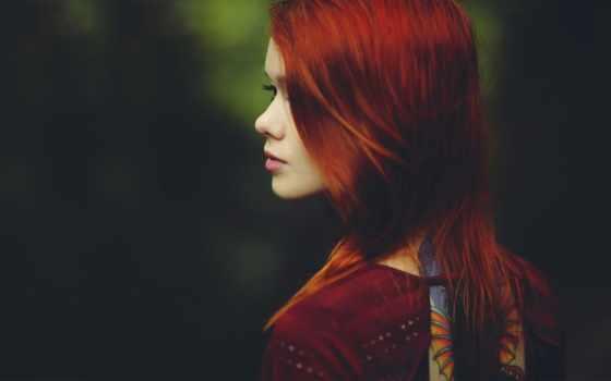 девушка, рыжая, devushki, взгляд, lass, настроение, спины,