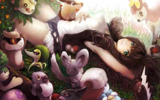 anime, природа, девушка, zhivotnye, art, река, собака, amino,