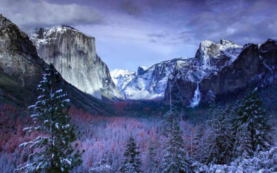 yosemite, national, park, снег, долина, winter,
