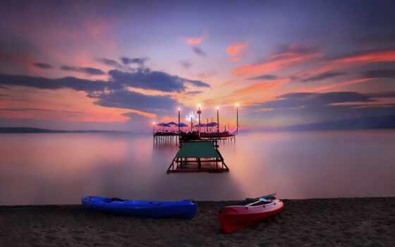 summer, природа, небо, ocean, облако, море, лодка, закат, пляж, поле