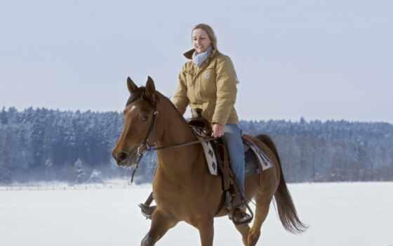 лошадь, winter, девушка, привал, браун, снег, animal, женщина, anime, прокатиться